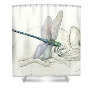 Dragonfly With Chameleon Shower Curtain