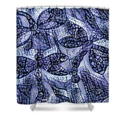 Dragons In Blue Mosaic Shower Curtain