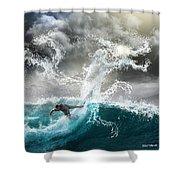Dragon's Soul Surfer Shower Curtain