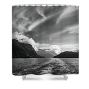 Dramatic Clouds And Alpine Scenery At Lake Manapouri  Shower Curtain