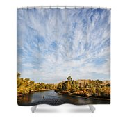 Dramatic Clouds Over Boise River In Boise Idaho Shower Curtain