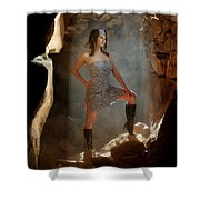 Dramatic Fashion Pose Shower Curtain