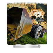 Dramatic Loader Shower Curtain by Meirion Matthias