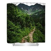 Dramatic Mountain Landscape With Distinctive Green Shower Curtain