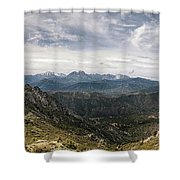 Dramatic Panoramic View Of Snow Capped Mountains Of Northern Cor Shower Curtain