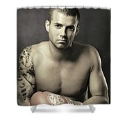 Dramatic Portrait Of A Kickboxer Shower Curtain
