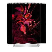 Dramatic Red Flowers Shower Curtain