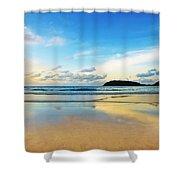 Dramatic Scene Of Sunset On The Beach Shower Curtain