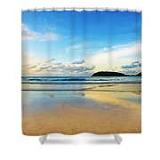 Dramatic Scene Of Sunset On The Beach Shower Curtain by Setsiri Silapasuwanchai