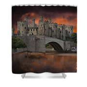 Dramatic Sky Over Castell Conwy Shower Curtain
