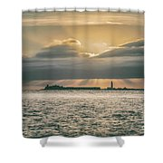 Dramatic Sky Over Hurst Castle Shower Curtain