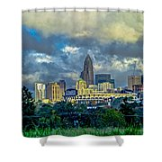 Dramatic Sky With Clouds Over Charlotte Skyline Shower Curtain