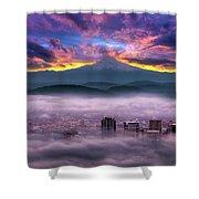Dramatic Sunrise Over Foggy Downtown Portland Shower Curtain
