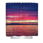 Dramatic Sunset Colors Over Birch Bay Shower Curtain