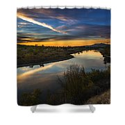 Dramatic Sunset Over Boise River Boise Idaho Shower Curtain