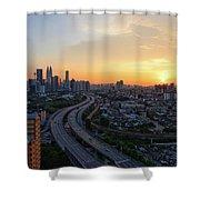 Dramatic Sunset Over Kuala Lumpur City Skyline Shower Curtain