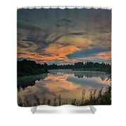 Dramatic Sunset Over The Misty River Shower Curtain