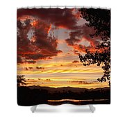 Dramatic Sunset Reflection Shower Curtain