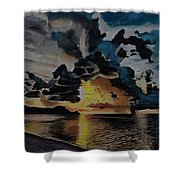 Dramatic Sunset Seascape Shower Curtain