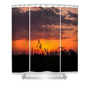 Dramatic Sunset Triptych Shower Curtain
