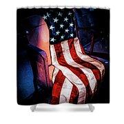 Draped American Flag Shower Curtain