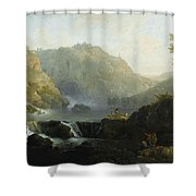 Draughtsmen In Front Of A Waterfall Shower Curtain