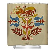 """Drawing For Plate 4: From Portfolio """"folk Art Of Rural Pennsylvania"""" Shower Curtain"""