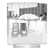 Drawing The Beach Chairs Shower Curtain