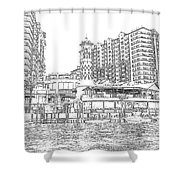 Drawing The Harbor Shower Curtain