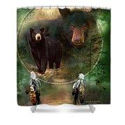 Dream Catcher - Spirit Of The Black Bear Shower Curtain