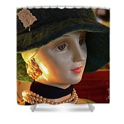 Dream Girl With Hat And Pearls Shower Curtain