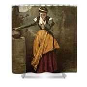 Dreamer At The Fountain Shower Curtain