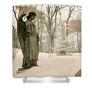 Dreamy Angel Monument Surreal Sepia Nature Shower Curtain