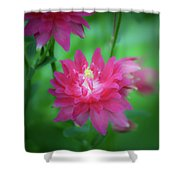 Dreamy Hot Pink Columbine Squared Shower Curtain