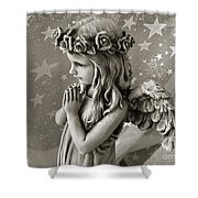 Dreamy Little Girl Angel With Praying Hands  Shower Curtain by Kathy Fornal