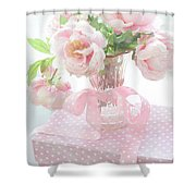 Dreamy Shabby Chic Cottage Pink Peonies In Vase - Romantic Pink Peonies Floral Bouquet Shower Curtain