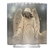 Dreamy Surreal Angel Art Fog Cemetery Shower Curtain