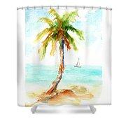Dreamy Tropical Beach Palm Shower Curtain