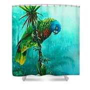 Drenched - St. Lucia Parrot Shower Curtain