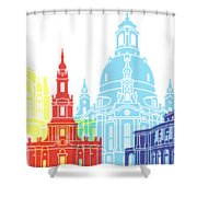 Dresden Skyline Pop Shower Curtain