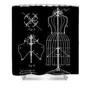 Dress Form Patent 1891 Black Shower Curtain