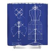 Dress Form Patent 1891 Blue Shower Curtain