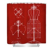 Dress Form Patent 1891 Red Shower Curtain