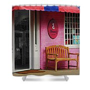 Dress Shop With Orange And Blue Awning Shower Curtain