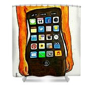 Dressing Iphone Shower Curtain