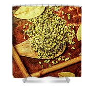 Dried Chives In Wooden Spoon Shower Curtain