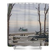 Driftwood Shrimper Shower Curtain