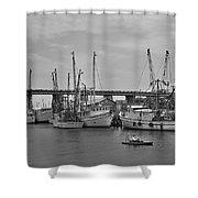 Drive By Tybee Island Shrimp Boat Art Shower Curtain