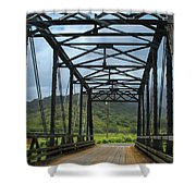 Driving Over Hanalei Bridge Shower Curtain