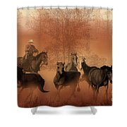 Driving The Herd Shower Curtain by Corey Ford